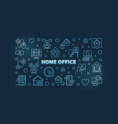 home office outline blue concept horizontal vector image