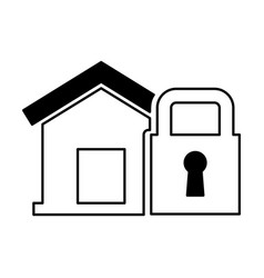 House insurance with padlock isolated icon vector