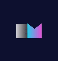 Initial alphabet letter em e m logo company icon vector