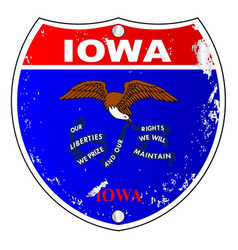 Iowa flag icons as interstate sign vector