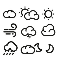 Isolated black and white color elements of weather vector