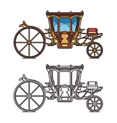 isolated icons for fairytale carriage or chariot vector image