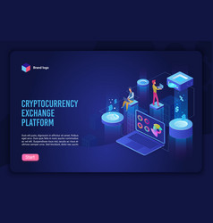 isometric cryptocurrency exchange concept vector image