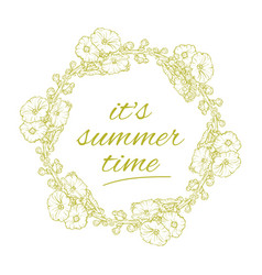 its summer time wreath with flowers isolated vector image