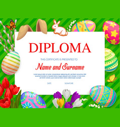 Kindergarten kids diploma with easter eggs vector