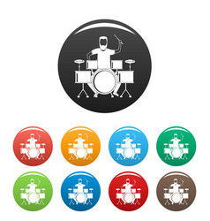 man at drums icons set color vector image