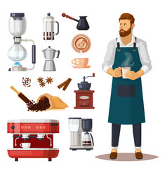 Man with cup coffee near coffeeshop items vector