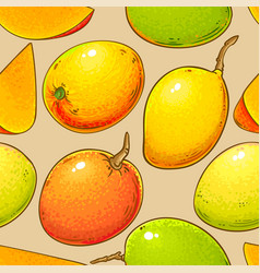 Mango fruits pattern on color background vector