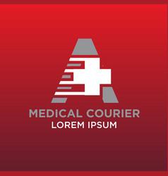 medical courier logo designs vector image