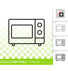 microwave simple black line icon vector image