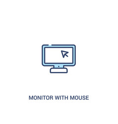 Monitor with mouse cursor concept 2 colored icon vector