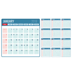 Monthly calendar template 2018 year vector