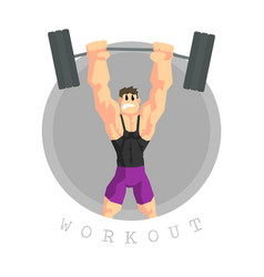 Muscular man rising barbell physical workout vector