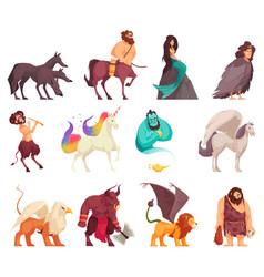 Mythical creatures cartoon set vector