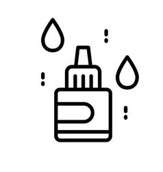 Nasal eye or ear drops bottle isolated line icon vector