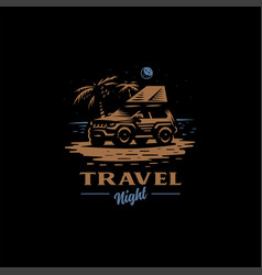 off-road car stands on night beach vector image