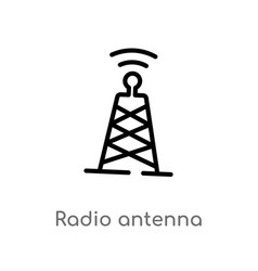 Outline radio antenna icon isolated black simple vector