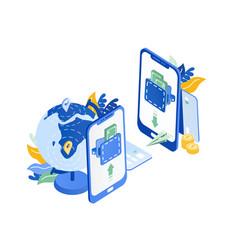 pair of modern mobile phones globe flying paper vector image