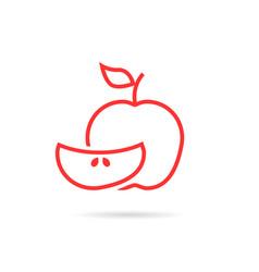 piece red apple logo vector image