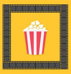 popcorn film strip square frame red yellow box vector image