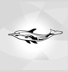 professional swimmer dolphin logo ocean sea vector image