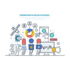 promotion in social network digital marketing vector image