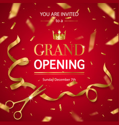 Realistic grand opening invitation pattern vector