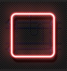 Rectangle neon lamp realistic square fluorescent vector
