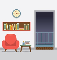Red Sofa With Bookcase vector