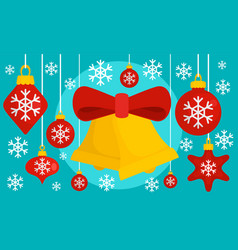 red xmas toy gold bell banner flat style vector image