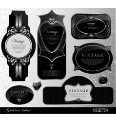 Retro black gold label vector image