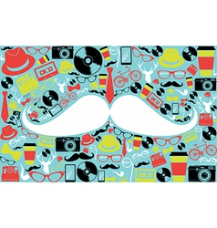 Retro hipsters icons shape vector image