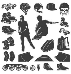 roller skater black white icons set vector image