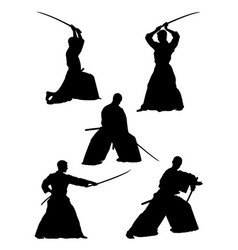 samurai gesture silhouette 02 vector image