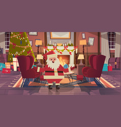 Santa claus in living room decorated for christmas vector