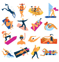sea activities icons set vector image