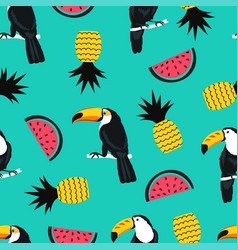 seamless summer pattern with toucan birds vector image