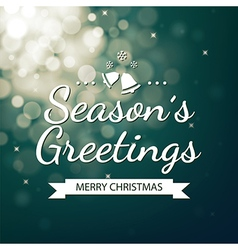 Season greetings with green bokeh background vector image