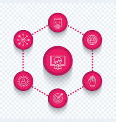 seo internet marketing seo tools line icons vector image