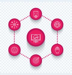 seo internet marketing seo tools line icons vector image