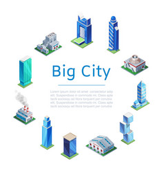 set 3d isometric skyscrapers big city houses vector image