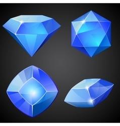 set blue gemstones vector image