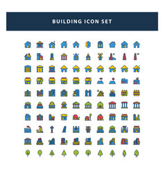 set building icon with filled outline style vector image