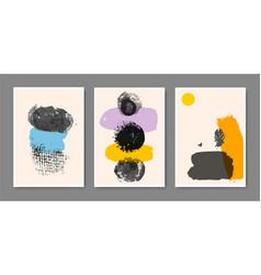 set creative minimalist hand painted vector image