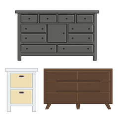 Set of drawer and cabinet for interior household vector