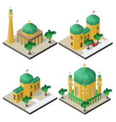 set of oriental isometric buildings with palm vector image