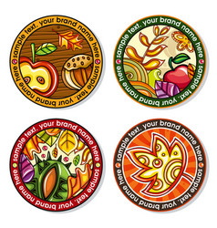 Set of seasonal autumn round drink coasters for vector