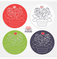 set shopping baskets with fruits vegetables vector image