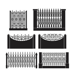 set wrought-iron fencing vector image