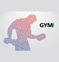 silhouette a bodybuilder gym logo vector image